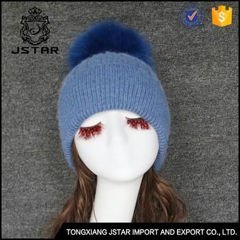 53b8e91f7ef90e 100% Angora Winter Beanie Hat With Big Detachable Real Fur Pom ...