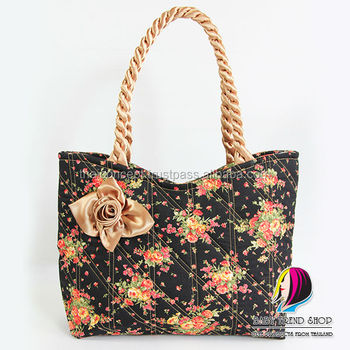 48b4bc711818e Handbags : Vintage Floral Ladies Handbags With Front Rose Ribbon And Twisted  Fabric Handle , Quilted