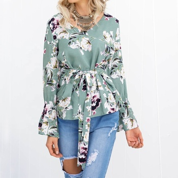 2019 New Ladies Clothing Tunic Top Long Flare Sleeve Printed Women's Blouse & Tops