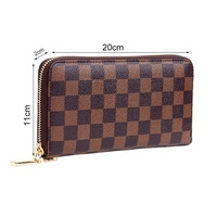 Long Checkered Zip Around Wallet RFID Blocking Leather Clutch for Men Women