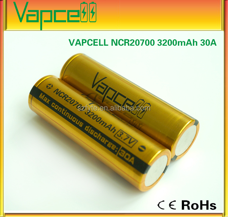 VapCell NCR20700 3.7v li-on rechargeable battery 20700 VAPCELL 20700 3200mAh NCR20700 high rate battery cell 30A NCR 20700