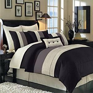 Hudson Black Full size Luxury 12 piece comforter set includes Comforter, bed skirt, pillow shams, decorative pillows, flat sheet, fitted sheet, standard pillowcases.