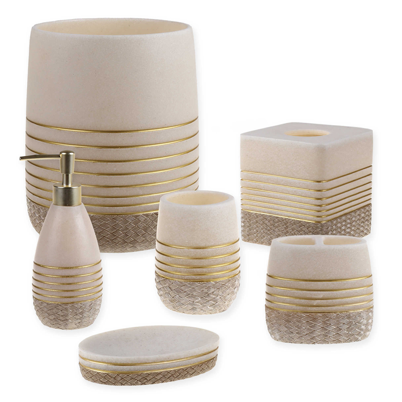 Elegant Beige Sandstone Resin Bathroom Soap Dish with Gold Lines