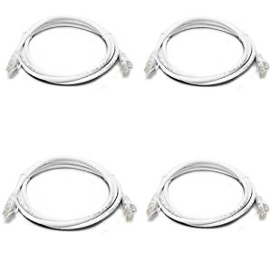 [4 Pack] Ethernet Cable, CAT5e Fosmon Premium LAN Network Cable 6FT / 2M Gold Plated Male to Male Connectors (White)