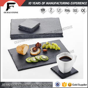 Customized black straight corner square slate plate with logo