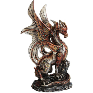 "Home & Garden ""Standing"" Figurine Decoration Made of Resin Metallic Industrial Vibrant Steampunk Mechanical Dragon Style"
