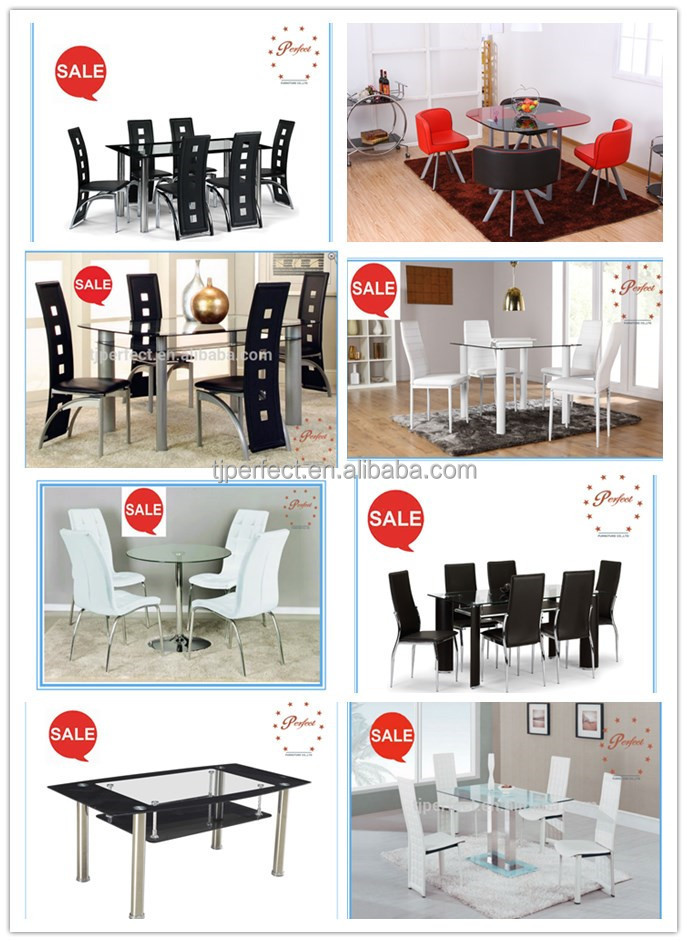 Young People 4 Dining Table Tempered Glass Room Sets