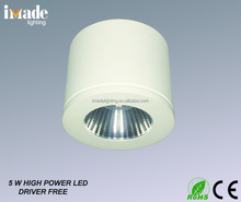 Round 5W high power LED cabinet light 3000K driver built in
