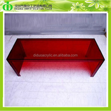 DDH-T044 ISO9001 Fabrication Chinoise Produire Test SGS Clair En Plexiglas Rouge Table D'appoint