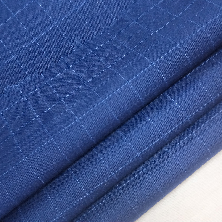 Polyester viscose blend TR suiting fabric with plaid