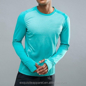 mens long sleeve flatlock seamless nylon spandex customized wholesale sports t shirt