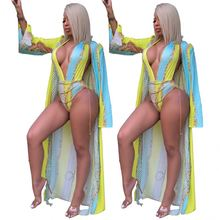 DH9176 Hot Stijl Feature Print Badpak Cape Tweedelige <span class=keywords><strong>Set</strong></span> Beachwear