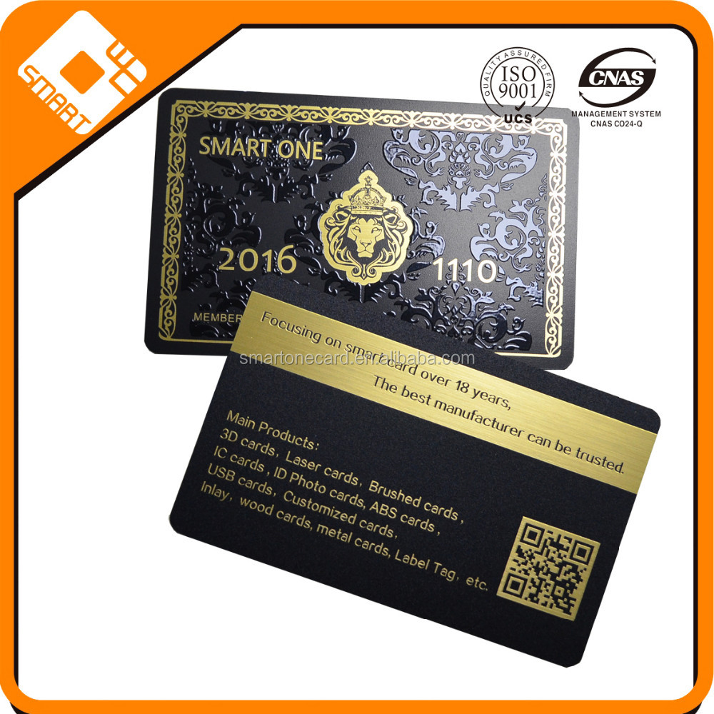 Hot card!!! black pvc material card with gold brushed number and text changeable, with UV spot print
