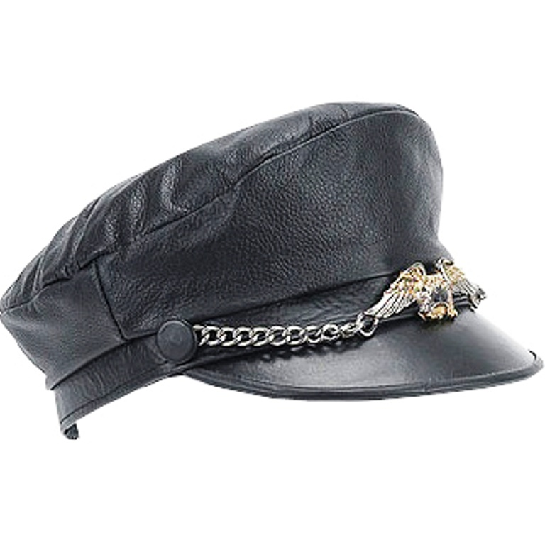 HMB-908C LEATHER BIKER HATS BLACK COLOR CAPS CHAIN EAGLE STYLE BIKER WEAR b9e0d7b7d99
