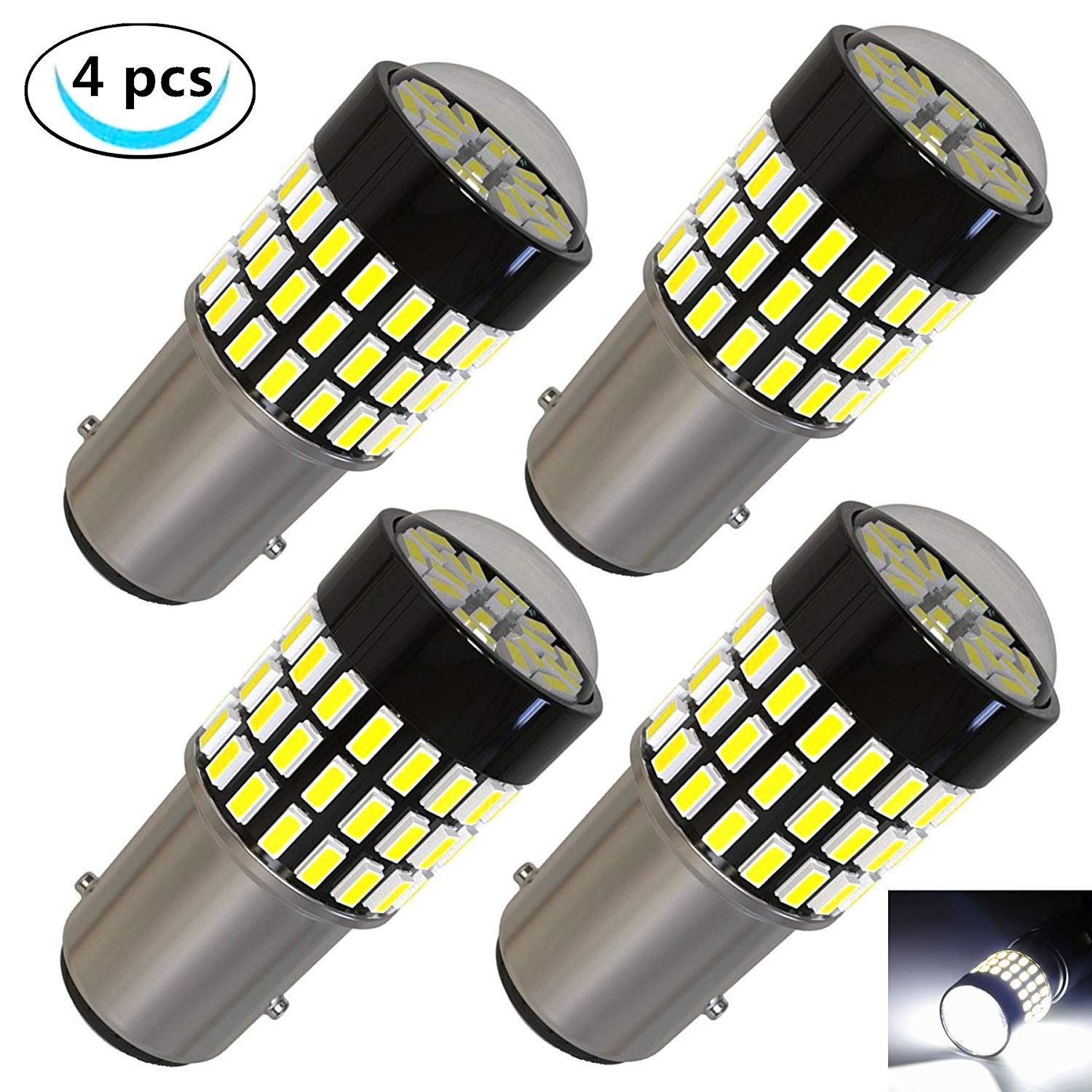LABBYWAY 4 Pcs Super Bright 900 Lumens 1157 3014 78-EX Chipsets 1157 2057 2357 7528 LED Bulbs Used For Turn Signal Lights,Tail Lights,Xenon White