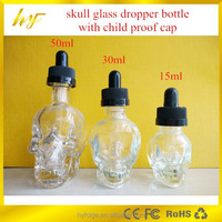 unique 15ml/30ml/50ml skull glass dropper bottle for eliquid with child proof cap and glass pipette