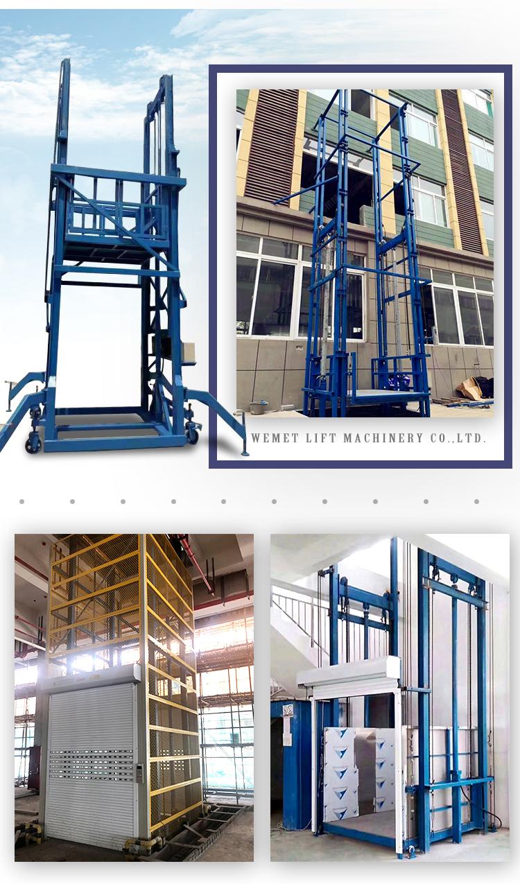 Công Nghiệp Dọc Đường Sắt Hướng Dẫn Wall Mount Lift Thủy Lực Kho Vận Chuyển Hàng Hóa Thang Máy Nâng Hàng