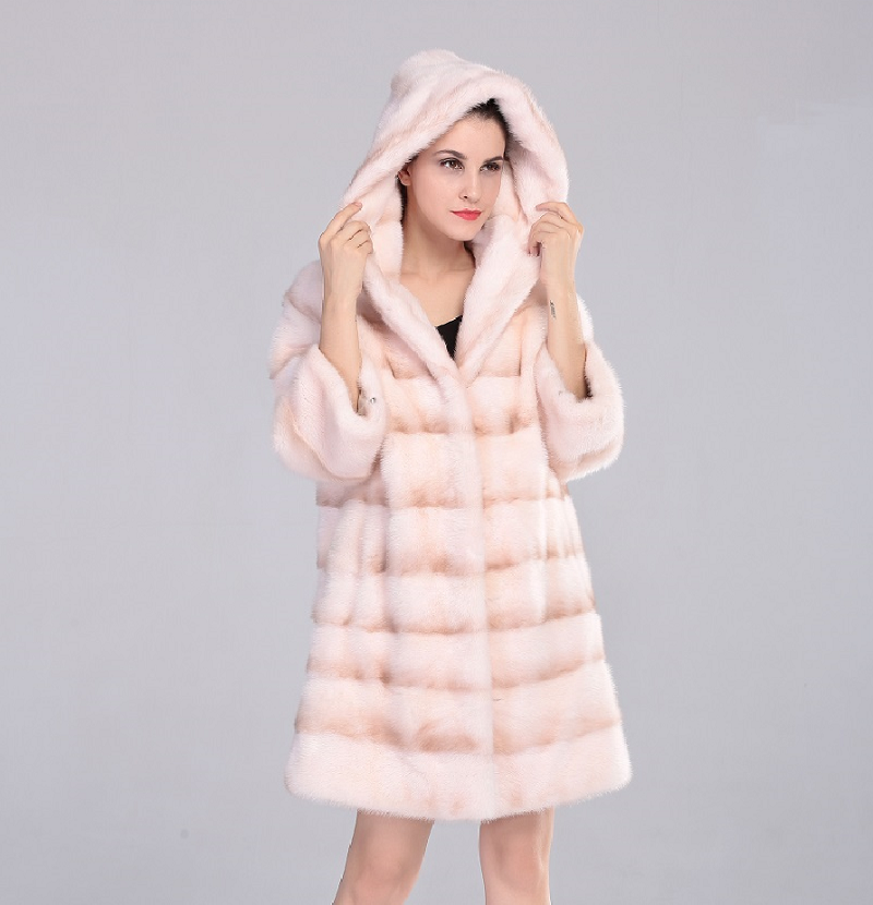 Real Mink Fur Women's Long Mink Fur Coat