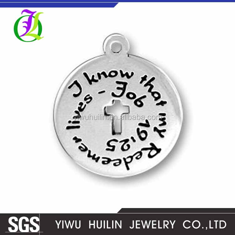 CN185095 Yiwu Huilin Jewelry Bible Message I Know That My Redeemer Lives charms Round Tag Pendant Cross Design Charm