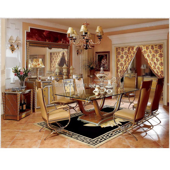 YB16 Luxury Italy Gold Royal 8 12 Chairs Dining Room Furniture 18th Century Antique Baroque