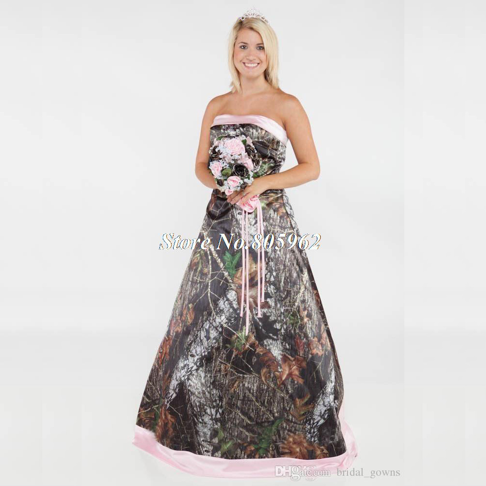 Vintage 2015 Long Camouflage Wedding Dress Strapless Lace Up Forest Camo Bridal Gowns With Removable Train - Camo Wedding Dress