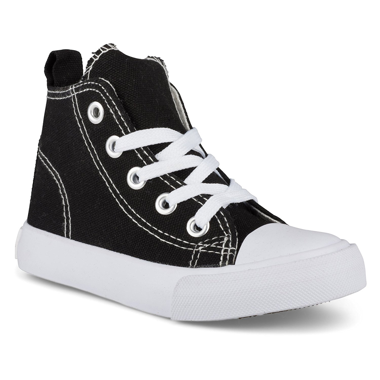Zoogs Fashion High-Top Canvas Sneakers - for Girls Boys Youth, Toddlers & Kids - Black & White Sneakers - Breathable Upper Canvas with Rubber Sole - Lace up Running Shoes