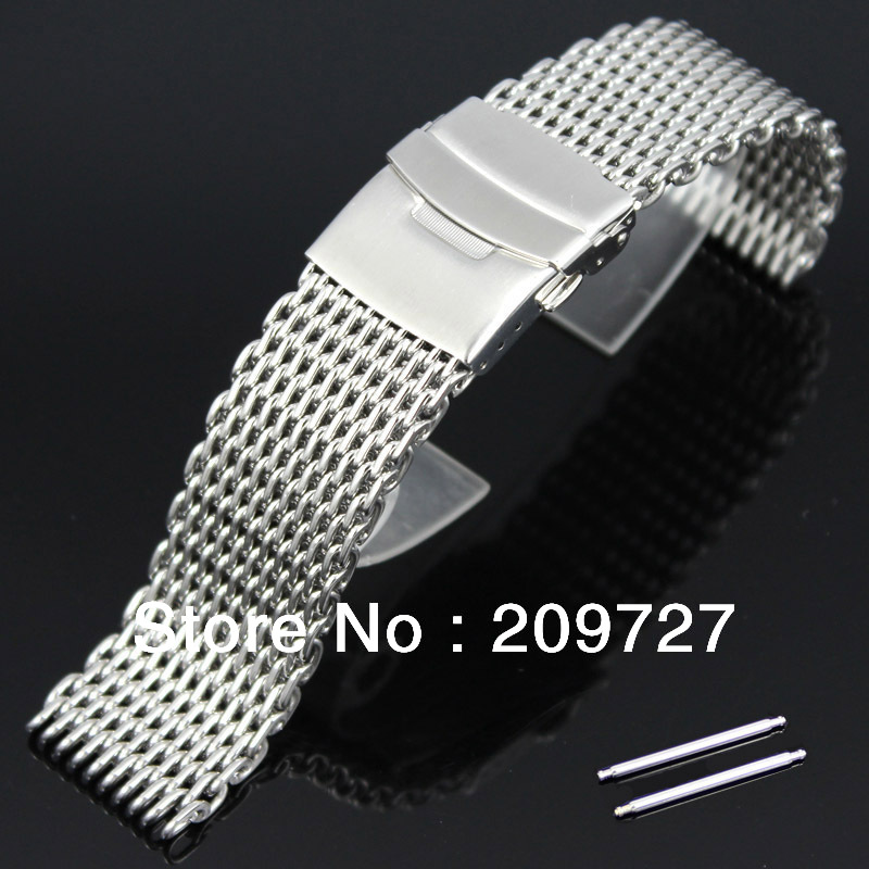1.2mm wire New 20mm 22mm 24mm Stainless Steel Shark Mesh