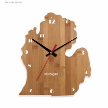 Room Decor <span class=keywords><strong>Orologio</strong></span> Stati Uniti D' America Mappa Michigan Parete <span class=keywords><strong>Orologio</strong></span> Fatto A Mano <span class=keywords><strong>Orologio</strong></span> in Tempo