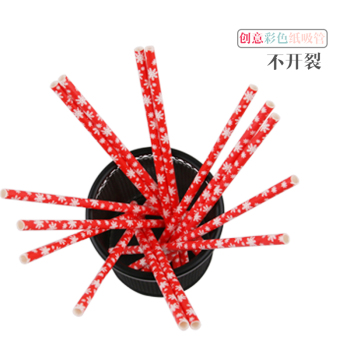 25pcs/lot Red snowflake Paper Straws for Birthday Wedding Decorative Party  Creative Drinking Straws