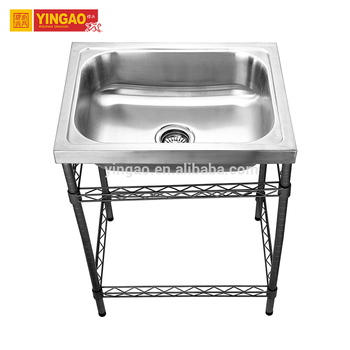 Big Bowl Square Size Portable Shampoo Stainless Steel Kitchen Undermount Single Sink