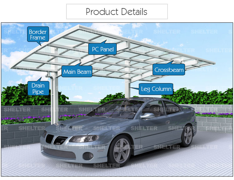 Outdoor Aluminum Carport Cantilever Curved For 1 Car Buy