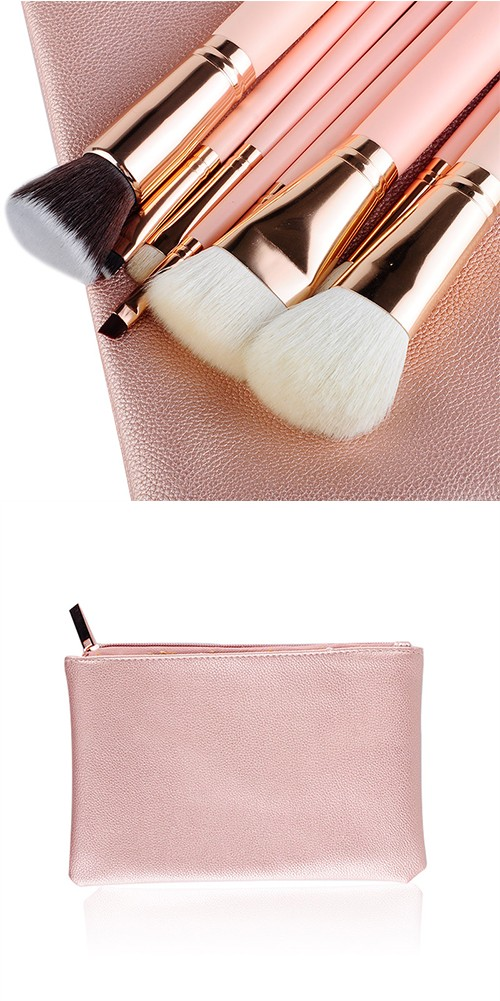MSQ 8pcs popular pink cosmetic brushes set with high quality material