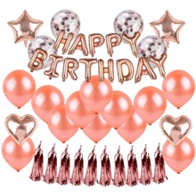 Rose Gold Happy Birthday Balloons Confetti Balloons Kit Birthday Party Decorations and Supplies