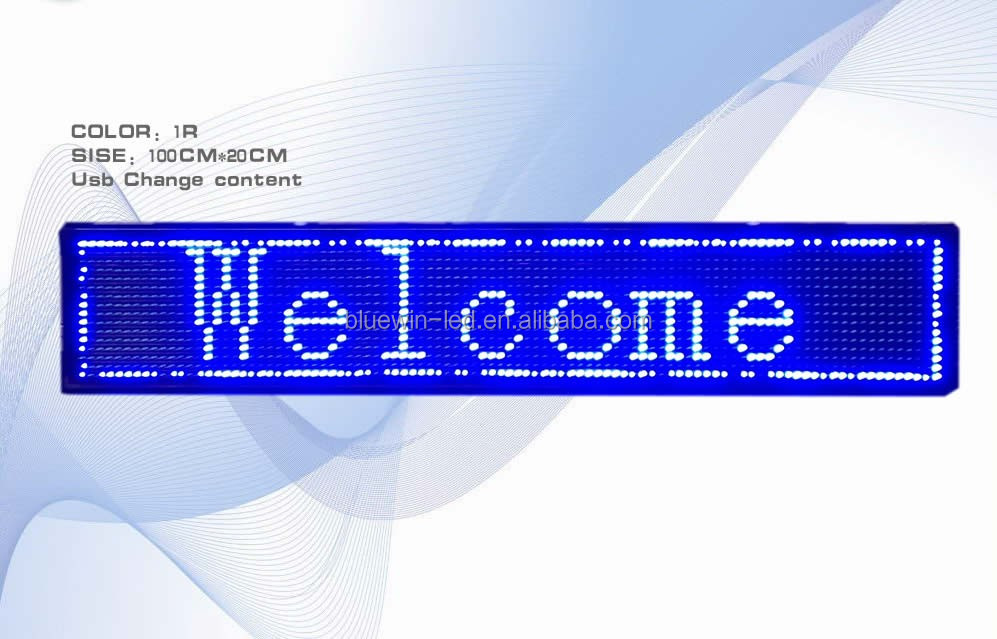 Blue Programmable Message moving LED Name Badge Tag Sign store led display