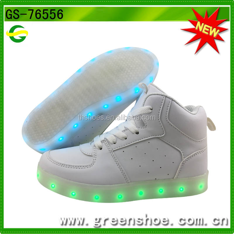 New style children usb charge high cut casual light up led shoes kids