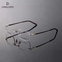 Fashion titan rimless optical glass eyeglass frames