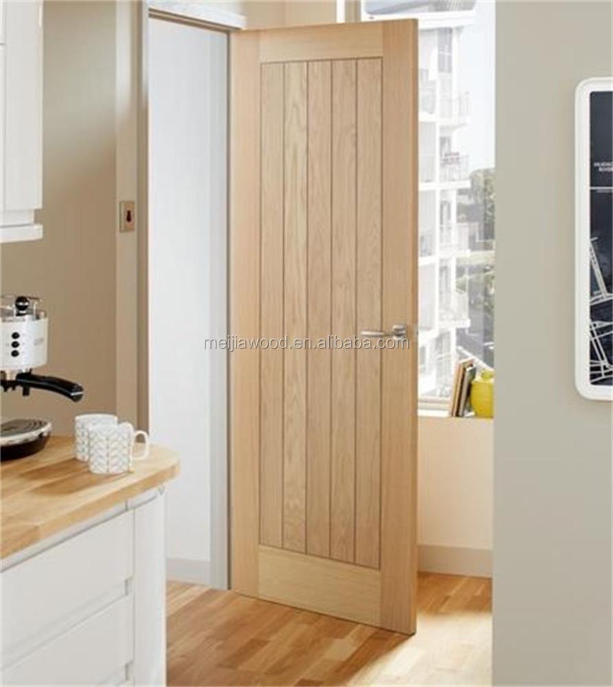 Plank Style Interior V Groove Wooden Door Main Door Wood Carving