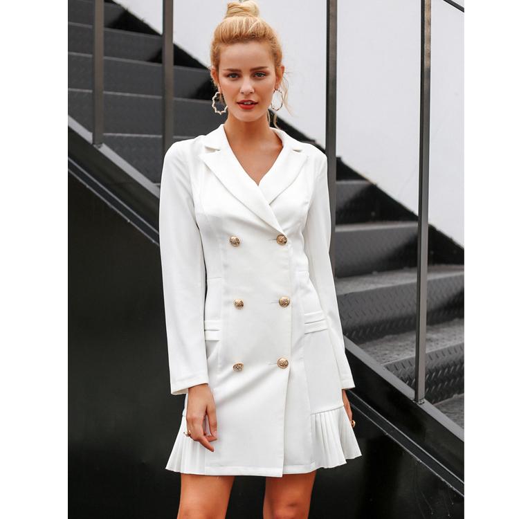 Vestido de Desgaste Do Escritório das mulheres Elegante Plissado Dupla Breasted Blazer Ocasional Fino Terno Vestido Escritório Senhoras HSD6227