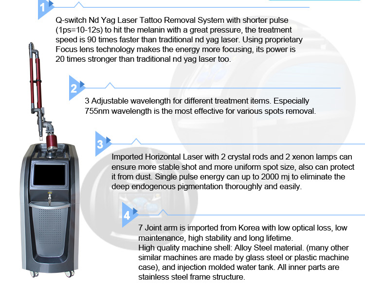Q Switched Nd Yag Laser Pico second Laser Pigment Removal Korea Picosecond Laser Tattoo Removal Machine