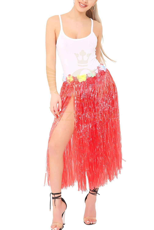 MA ONLINE Ladies Fancy 80cm Hula Skirt with Flowers Womens Fancy Grass Dance Party Wear Skirt