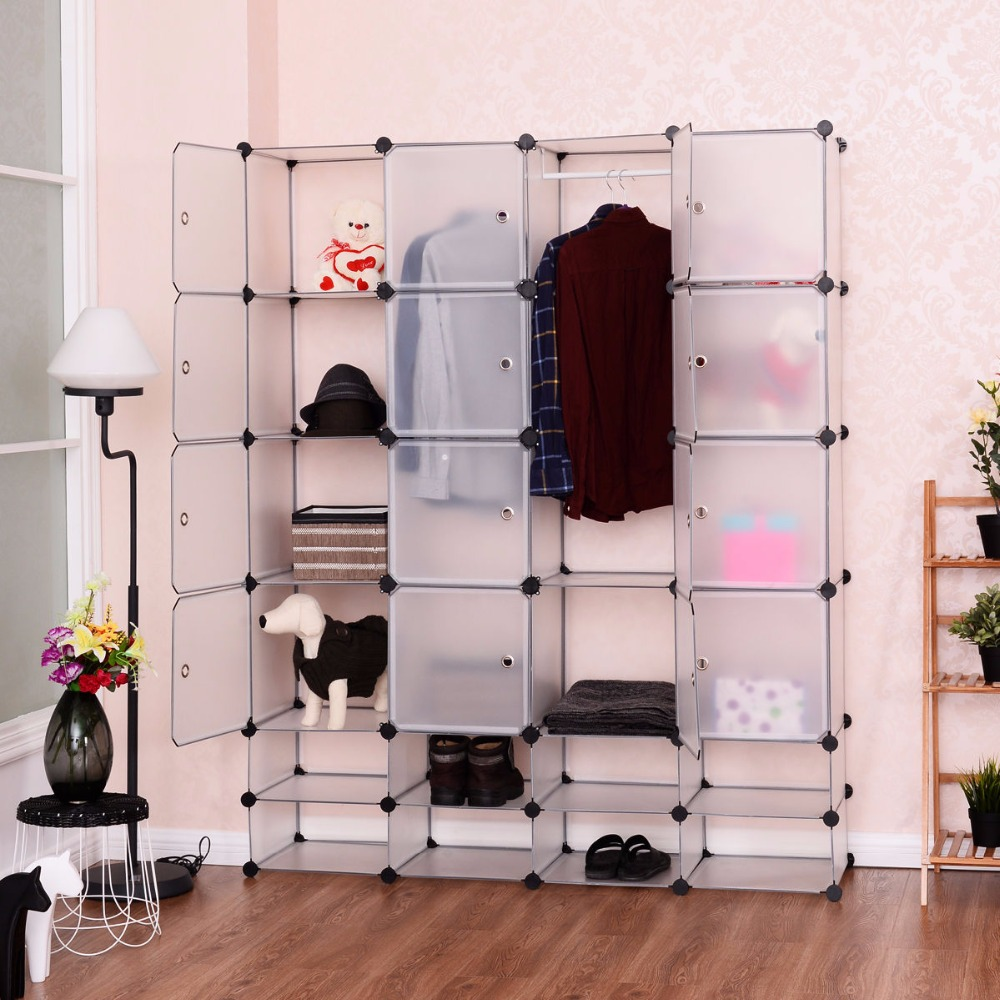 Us 69 99 Goplus Diy 16 8 Cube Portable Clothes Wardrobe 1 Hook Bedroom Storage Cabinet Shoes Clothes Closet Organizer With Doors Hw54795 In