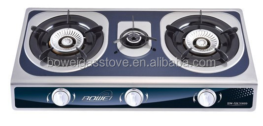 Kitchen Household Table Top 3 Burner Gas Stove Stainless Steel Cooker