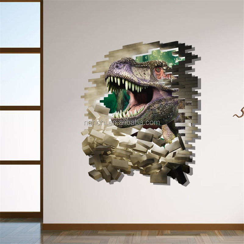 3D cartoon dinosaur wall stickers for kids bedroom living room decals decorative home arts removable wallpaper animal wall arts