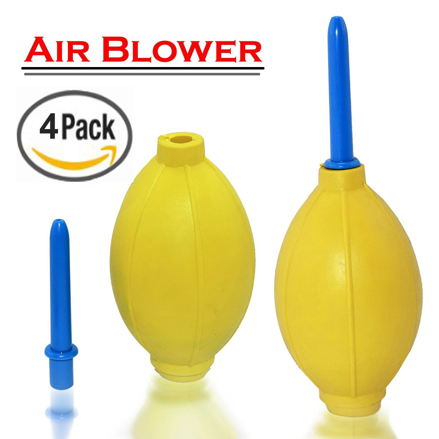 New Rubber Air Pump Cleaner Dust Blower for Keyboard,Digital SLR Camera, Lens, Watch, Cell Phone, Computer Laptop PC and Screen - Yellow (4 PACK)