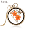 RAKOL Alloy Round Glass Charms Pendant Real Dried Pressed Flower Necklace Transparent Jewelry FN016