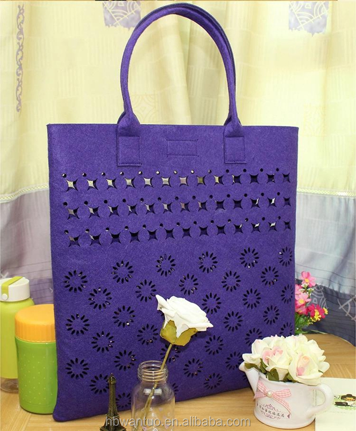 wholesale stylish felt handbag tote lady bag made in china