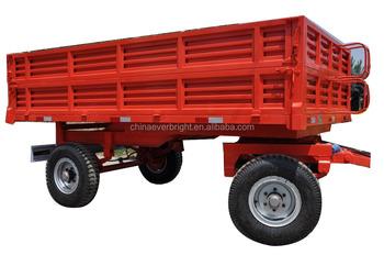 Double Axle 4 Wheels Farm Dump Trailer For Tractor Truck