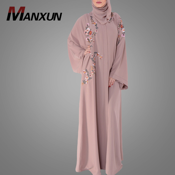 Stylish Manufactory Supplier Muslim Front Open Clothing New Model Embroidery Design Kimono Dubai Abaya