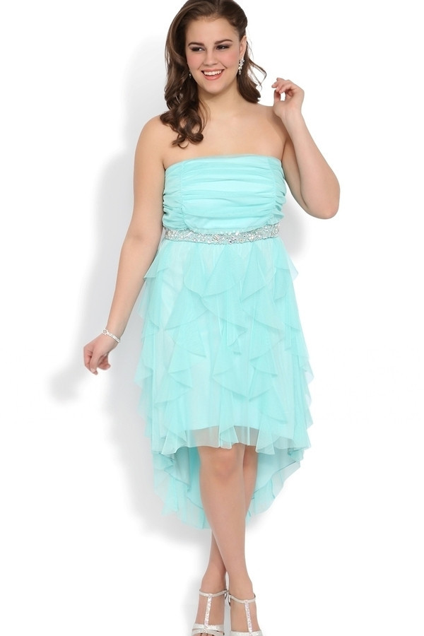 Buy High Low Ruffle Chiffon Plus Size Formal Gown Strapless Long