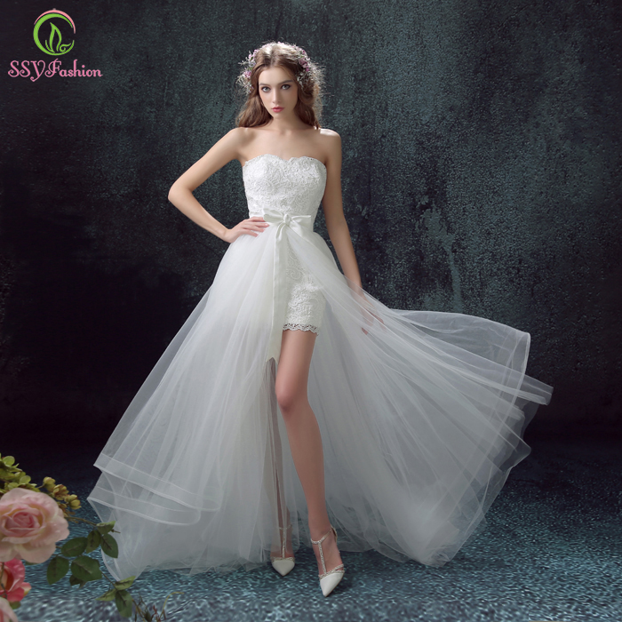 Wedding Dresses With Detachable Tail: Luxury Sexy Lace Wedding Dress 2016 Short Front Back Long